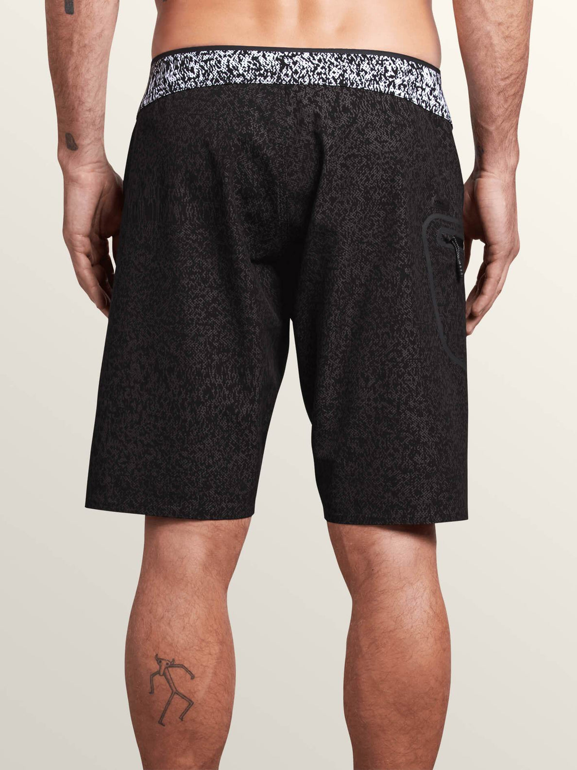 Plasm Plus Mod Boardshorts In Black, Back View