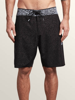 Plasm Plus Mod Boardshorts In Black, Front View