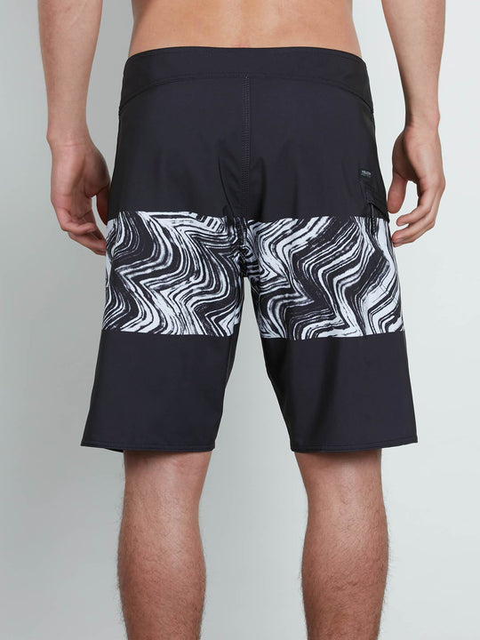 Macaw Mod Boardshorts In Black, Back View
