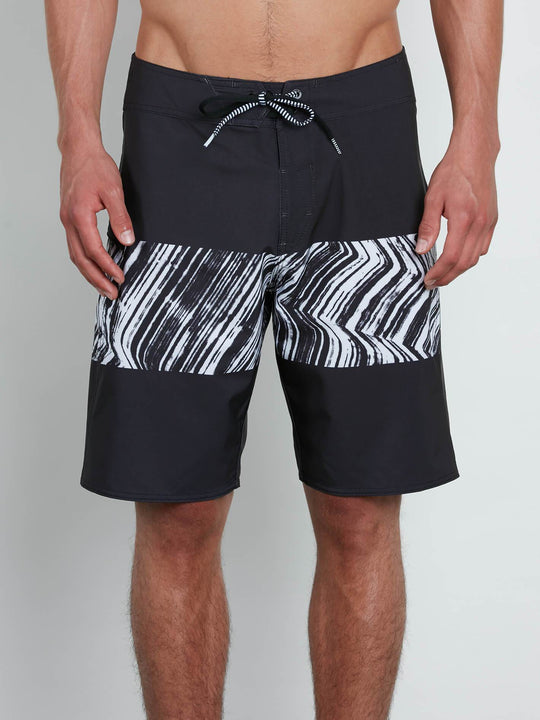 Macaw Mod Boardshorts In Black, Front View