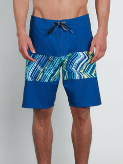 Macaw Mod Boardshorts In Camper Blue, Front View