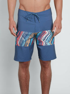 Macaw Mod Boardshorts In Deep Blue, Front View