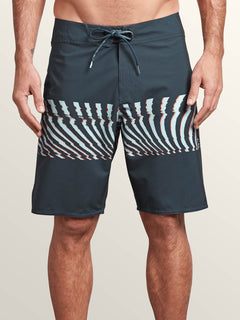 Macaw Mod Boardshorts In Midnight Blue, Front View