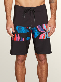 Macaw Mod Boardshorts In New Black, Front View