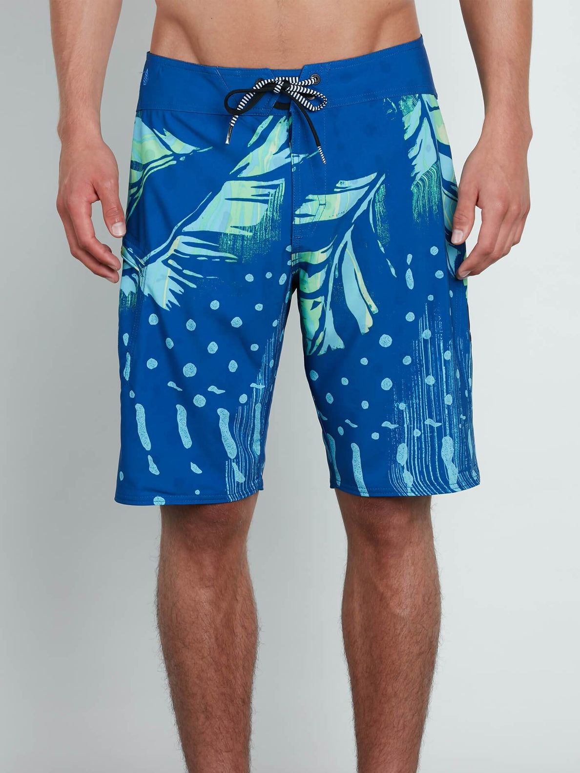 Flora Dot Mod Boardshorts In Camper Blue, Front View