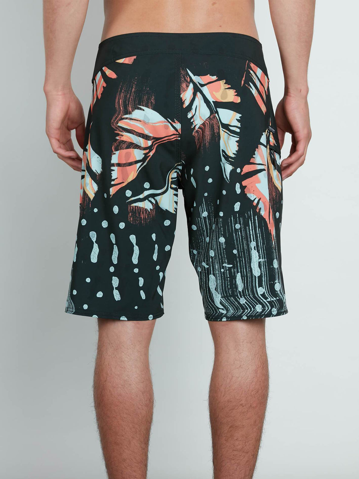 Flora Dot Mod Boardshorts In Stealth, Back View