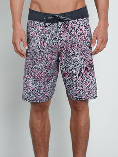 Plasm Mod Boardshorts In Black, Front View