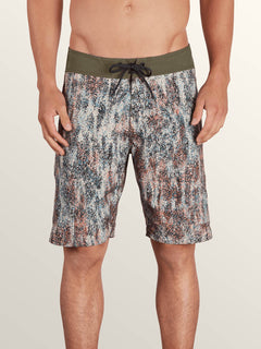 Plasm Mod Boardshorts In Snow Military, Front View