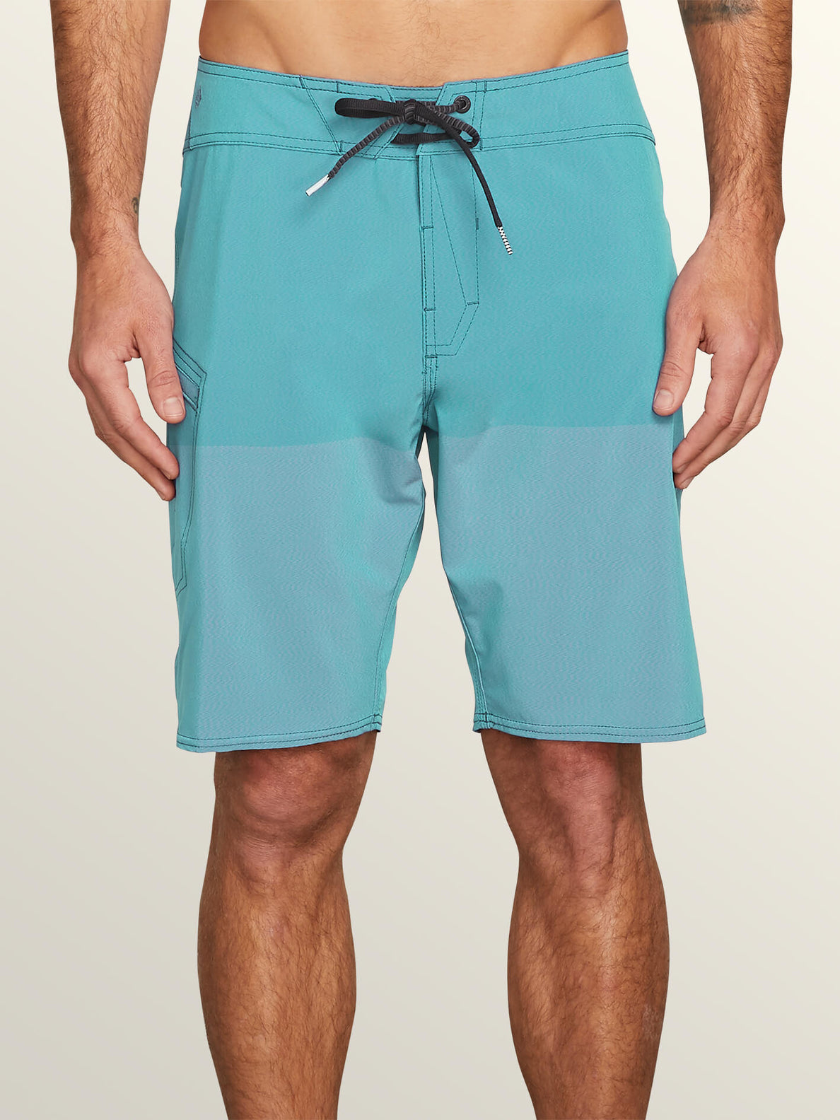 Lido Heather Mod Boardshorts In Neon Blue, Front View