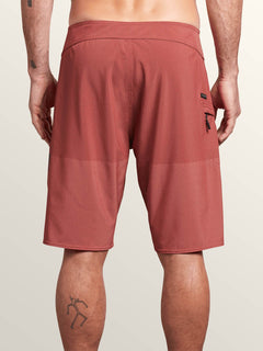 Lido Heather Mod Boardshorts In Orange Glow, Back View