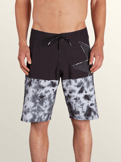 Lido Block Mod Boardshorts In Black, Front View