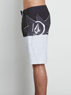 Lido Block Mod Boardshorts In Black White, Alternate View