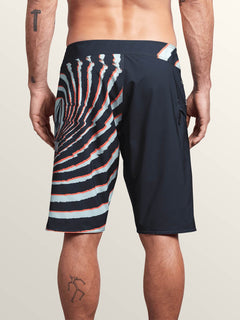 Lido Block Mod Boardshorts In Midnight Blue, Back View