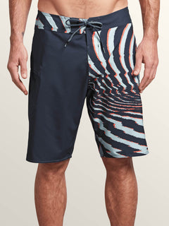 Lido Block Mod Boardshorts In Midnight Blue, Front View