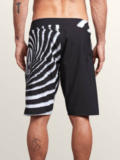 Lido Block Mod Boardshorts In New Black, Back View
