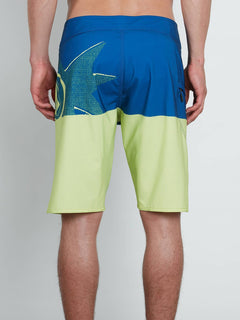 Lido Block Mod Boardshorts In Shadow Lime, Back View