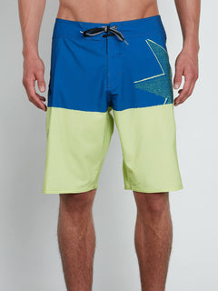 Lido Block Mod Boardshorts In Shadow Lime, Front View