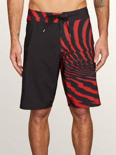 Lido Block Mod Boardshorts In Why Rock Red, Front View