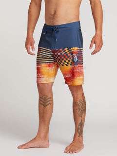 Lido Block Mod Boardshorts In Indigo, Alternate View