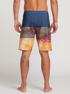 Lido Block Mod Boardshorts In Indigo, Back View