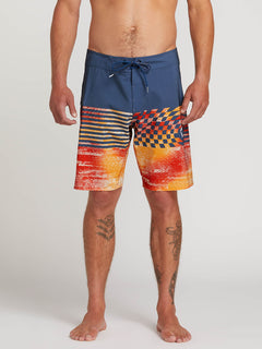 Lido Block Mod Boardshorts In Indigo, Front View