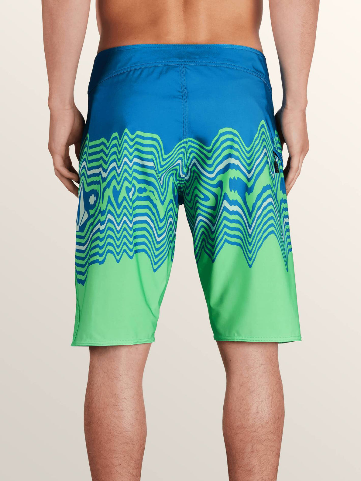 Lido Vibes Mod Boardshorts In Free Blue, Back View