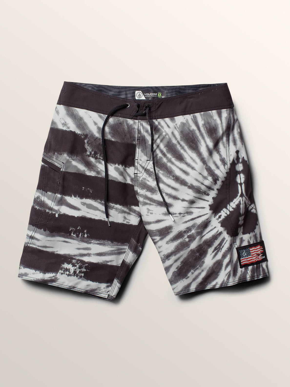 Peace Stone Mod Boardshorts In Black, Second Alternate View