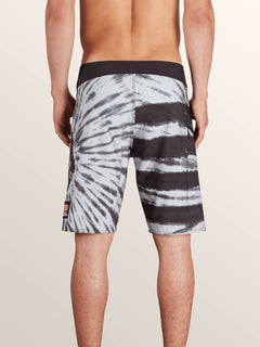 Peace Stone Mod Boardshorts In Black, Back View