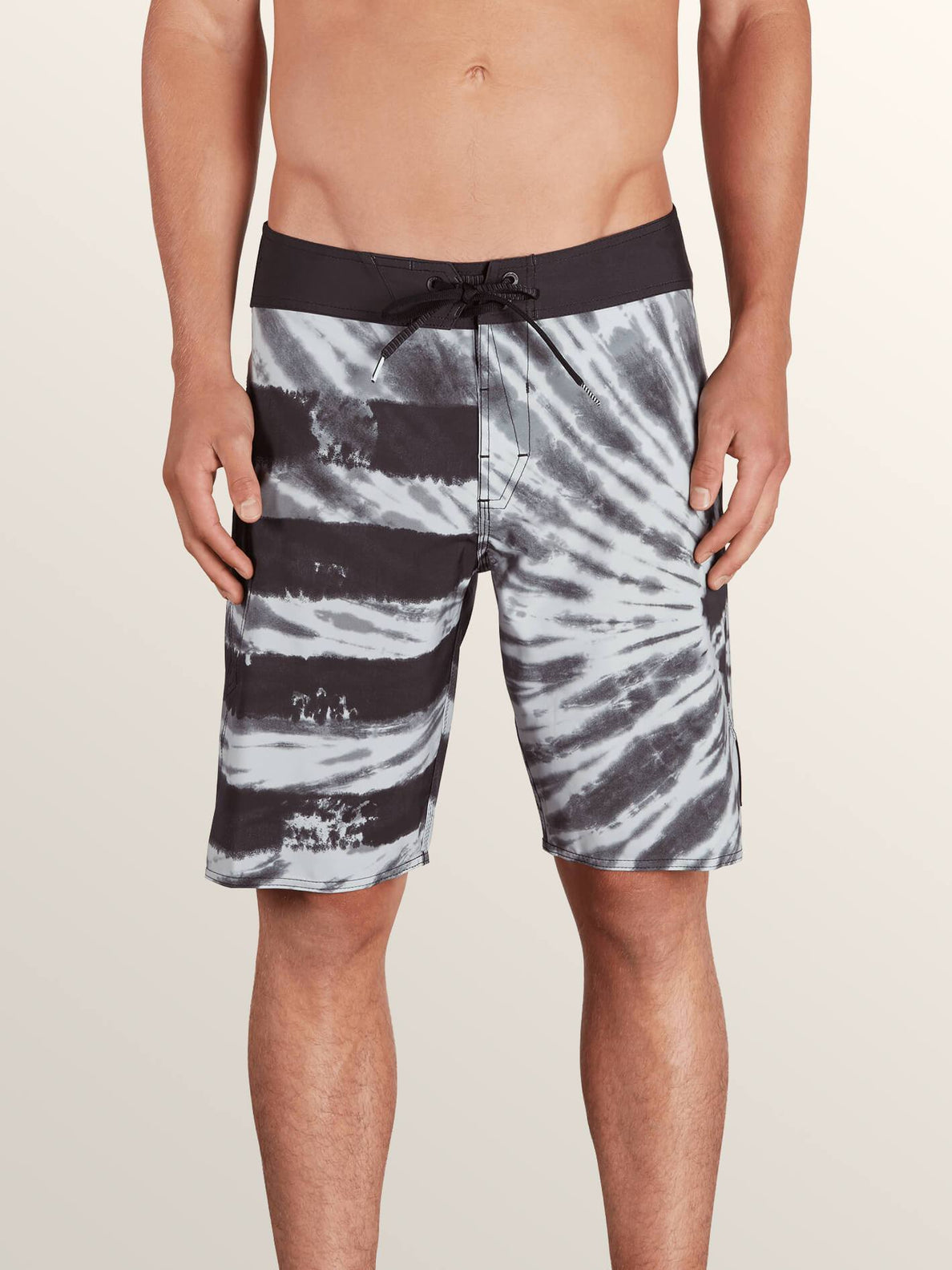 Peace Stone Mod Boardshorts In Black, Front View