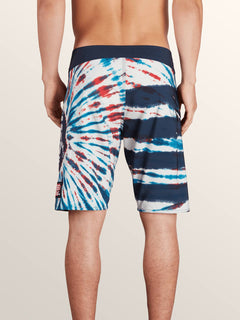 Peace Stone Mod Boardshorts In True Blue, Back View