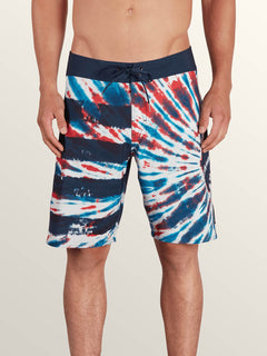 Peace Stone Mod Boardshorts In True Blue, Front View