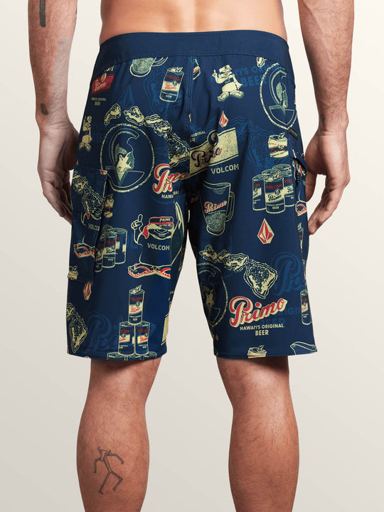 Primo Beer Mod Boardshorts In Navy, Back View