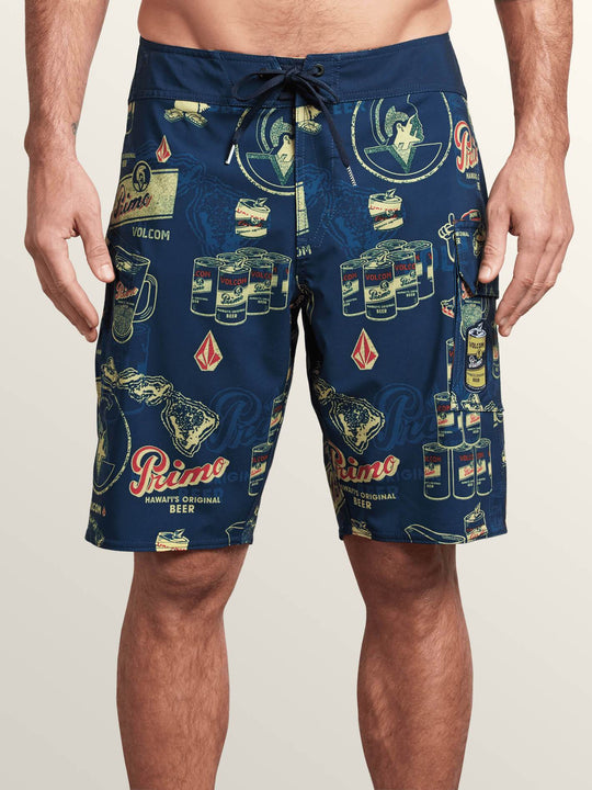 Primo Beer Mod Boardshorts In Navy, Front View