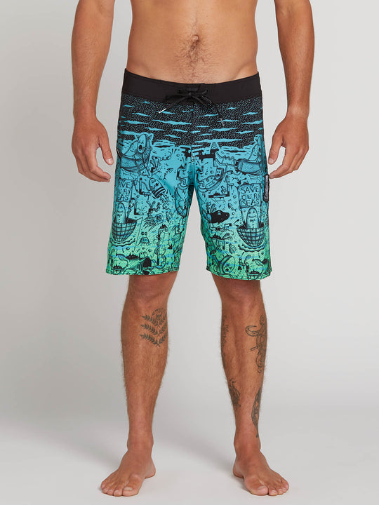 "Pangeaseed Mod 20"" Boardshorts In Blue Bird, Front View"