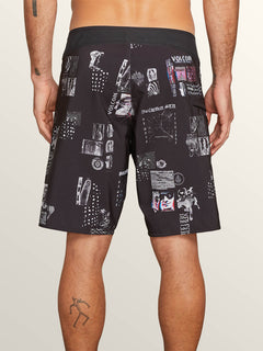 Speak To You Mod Boardshorts In Black, Back View