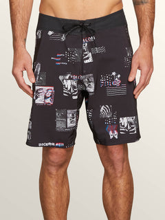 Speak To You Mod Boardshorts In Black, Front View