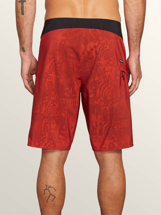 Deadly Stones Mod Boardshorts In Why Rock Red, Back View
