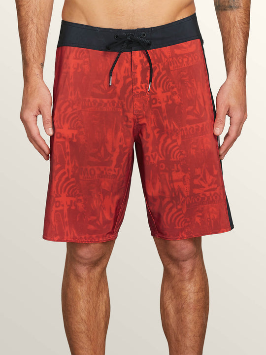 Deadly Stones Mod Boardshorts In Why Rock Red, Front View