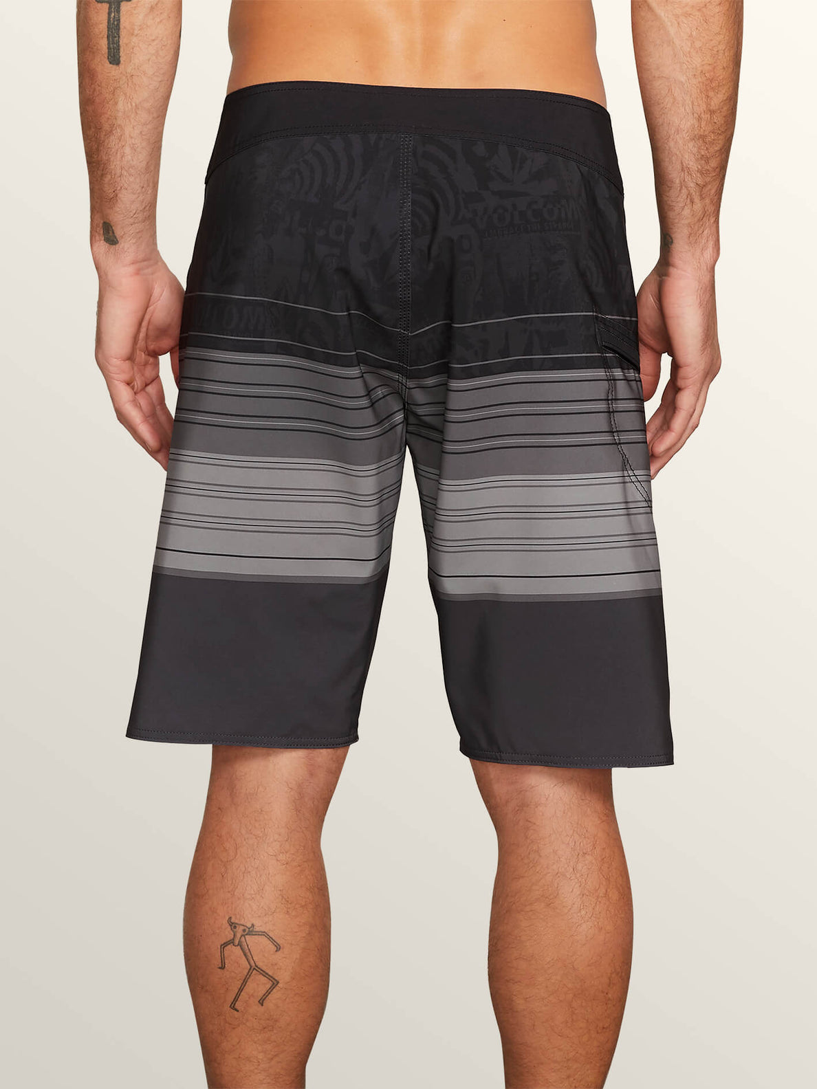 Lido Liney Mod Boardshorts In Black, Back View