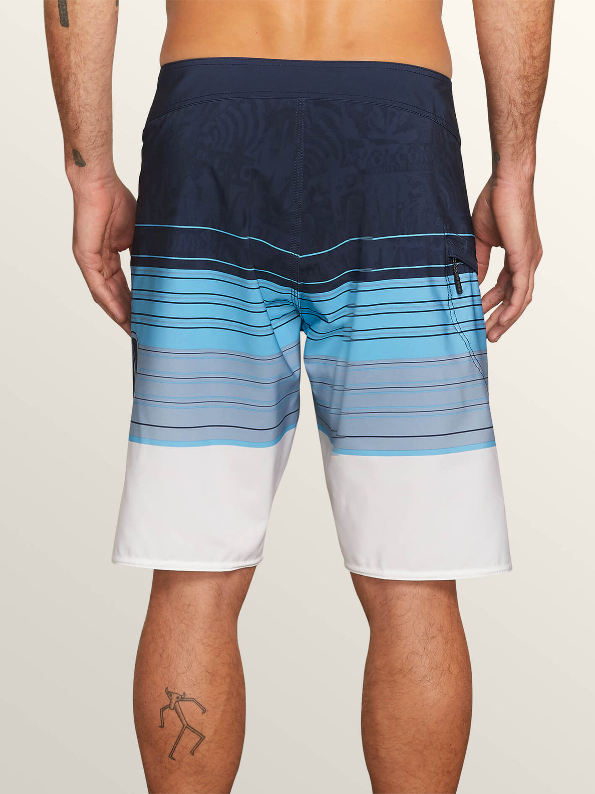 Lido Liney Mod Boardshorts In Melindigo, Back View
