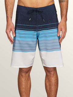 Lido Liney Mod Boardshorts In Melindigo, Front View