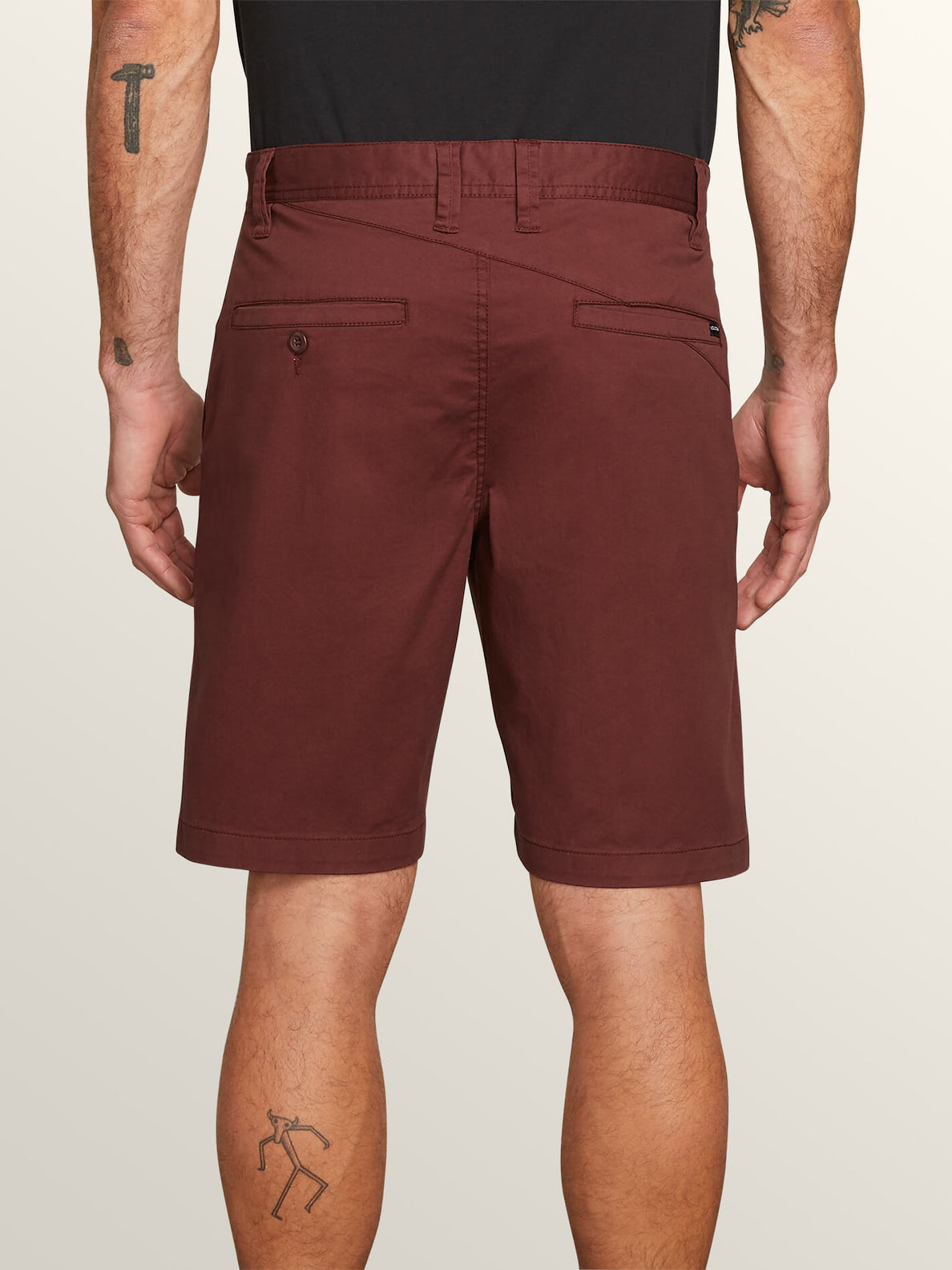 Frickin Modern Stretch Shorts In Bordeaux Brown, Back View