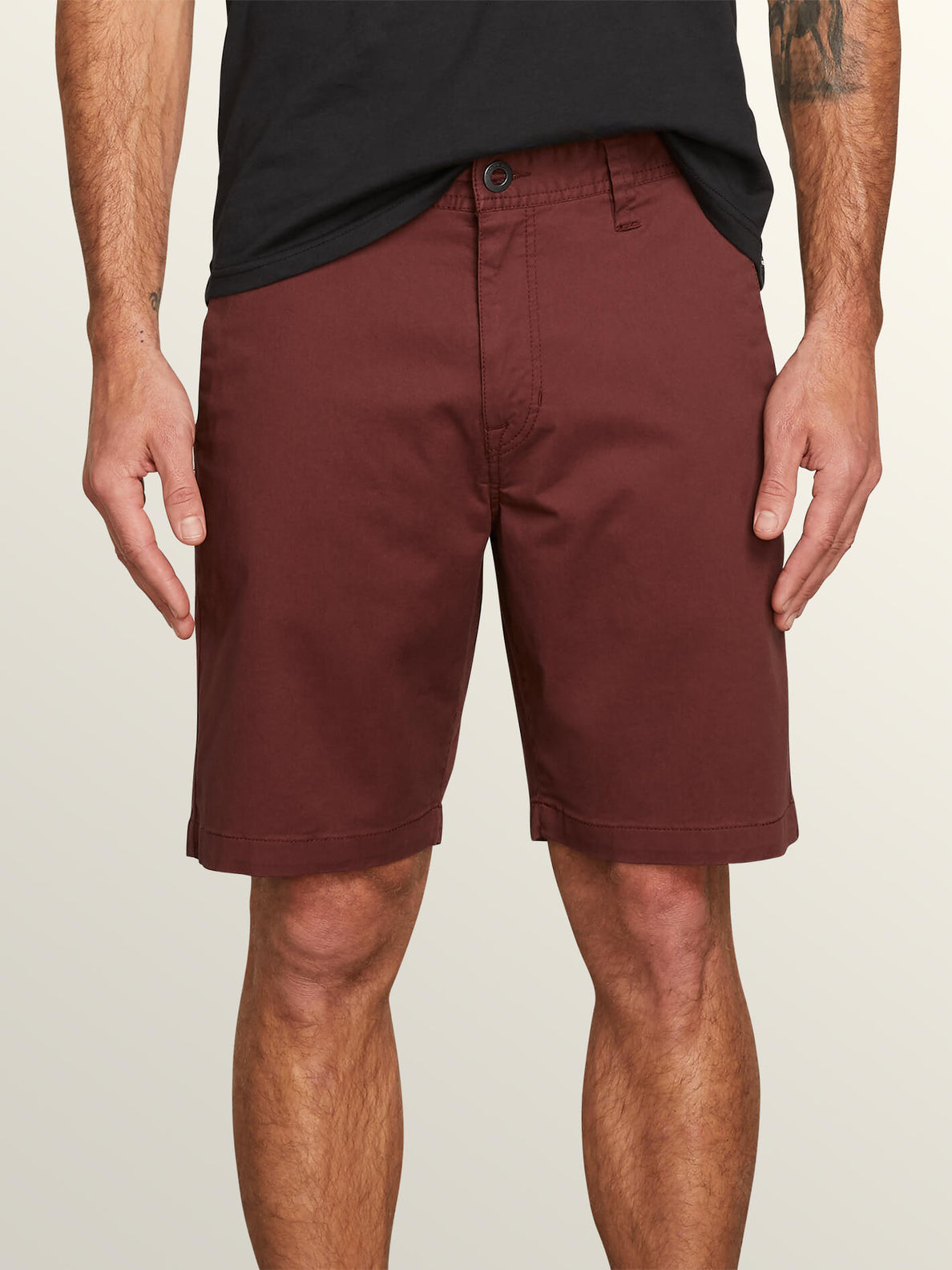Frickin Modern Stretch Shorts In Bordeaux Brown, Front View
