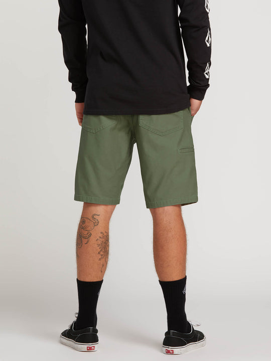 Riser Shorts In Faded Army, Back View