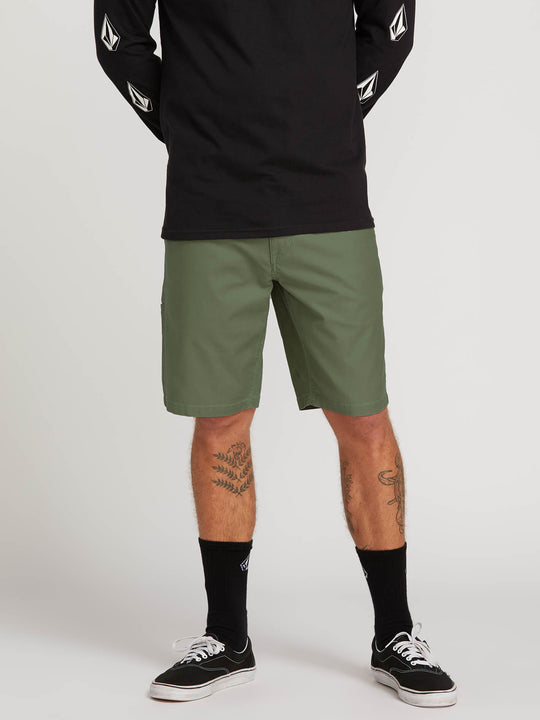 Riser Shorts In Faded Army, Front View