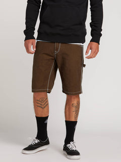 Whaler Utility Shorts In Dark Brown, Front View