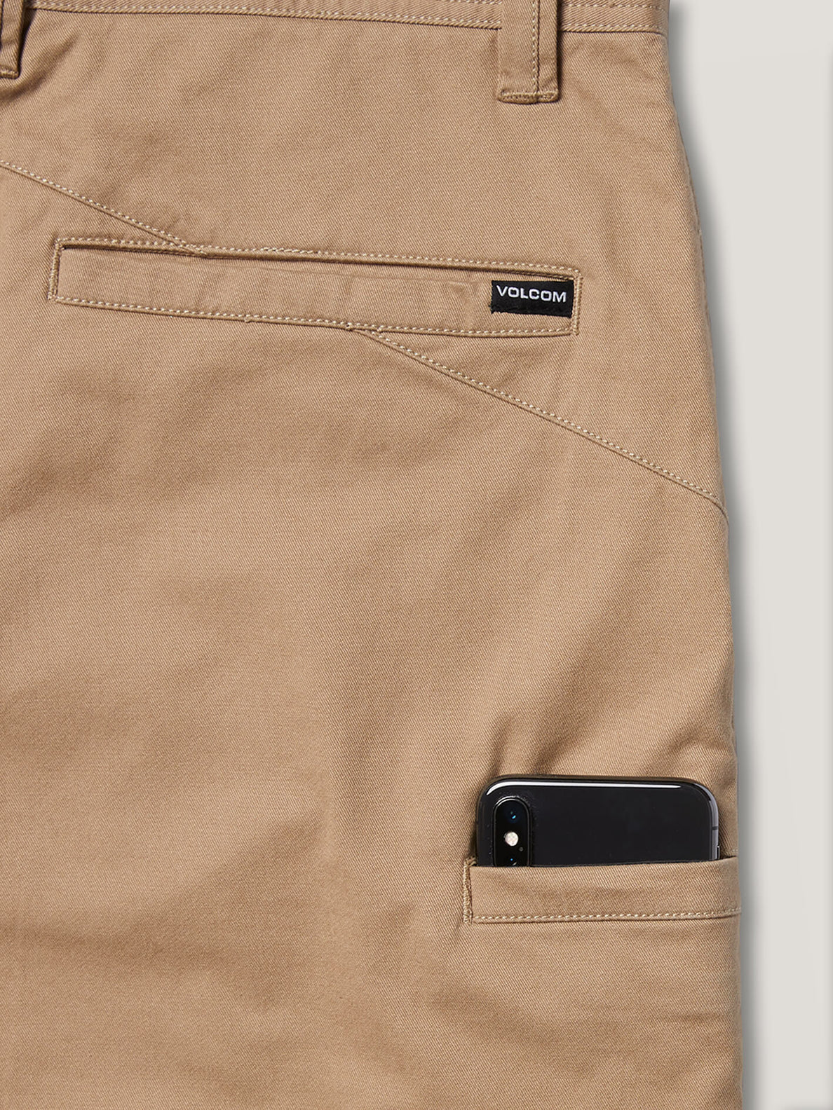 Frickin Down-low Shorts W/ Cell Phone Pocket In Khaki, Second Alternate View