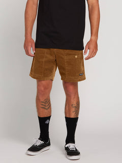 Subscale Cord Elastic Waist Shorts In Rubber, Front View