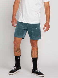 Subscale Cord Elastic Waist Shorts In Sea Navy, Front View
