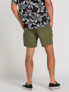 Hazed Shorts In Army, Back View